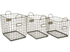 Shop IMAX Worldwide Newbridge Wire Storage Baskets (Set of at Lowe's Canada. Find our selection of storage bins & baskets at the lowest price guaranteed with price match. Wire Basket Storage, Wire Storage, Wire Baskets, Storage Room, Kitchen Storage, Room Shelves, Kitchen Pantry, Storage Bins, Home Office
