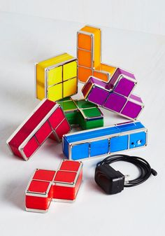Building Blocks of Light. Add a ray of retro inspiration and a gleeful glow to your desktop or nightstand with this adjustable Tetris light set! #multi #modcloth