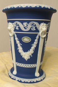 Vintage Dark Blue Wedgwood Jasperware Porcelain Vase w/ Five Green medallions |
