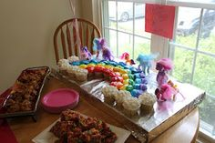 Creating a unique My Little Pony Birthday Party love the rainbow cupcake cake. This would be really easy to make.