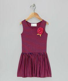 Navy & Hot Pink Stripe Twirl Dress - Toddler & Girls #zulily #zulilyfinds