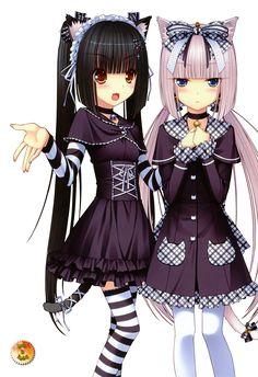 Chocolate and Vanilla Anime Ecchi   ... - Renders Sayori neko works chocola vanilla robe violet blonde noeud