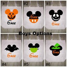 Disney Halloween Trick or Treat Bag Tote Boys Personalized Trick or treat bag x x These are made of canvas bag and vinyl Turn time is currently 2 days. Order before October to get them in time for halloween<br> Mickey Halloween Party, Halloween Buckets, Halloween Bags, Halloween Trick Or Treat, Disney Halloween, Halloween Crafts, Halloween Stuff, Scary Halloween, Happy Halloween