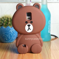 3D Cute cartoon brown bear silicone soft case cover for samsung galaxy S5 note4 #UnbrandedGeneric