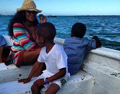 Tameka Foster + kids relaxing in Anguilla.