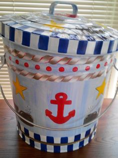 10 Gallon Hand Painted Galvanized Can