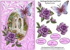 Heritage Garden Card Front on Craftsuprint designed by Diane Furniss - A Lovely Card Front with a Step by Step to make up.This Quick and Easy card will please all, and can be used for Many Occasions. - Now available for download!