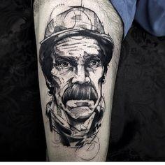 Tatuagem do seu madruga feita por Fredão Oliveira. #tatuagem #tattoo #blackwork #seumadruga #chaves