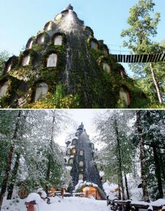 Magic Mountain Lodge in Chile has 13 rooms, a bar, restaurant and sauna plus hot tubs made out of hollowed out tree stumps!