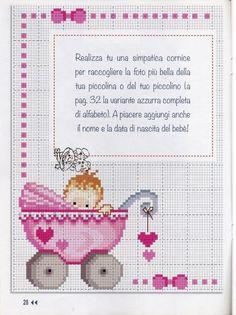 - Pink Stroller - Ideas of Pink Stroller - Xmas Cross Stitch, Cross Stitch Baby, Cross Stitch Charts, Cross Stitching, Cross Stitch Embroidery, Baby Cross Stitch Patterns, Hand Embroidery Patterns, Cross Stitch Designs, Baby Patterns