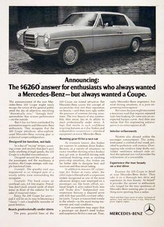 Mercedes 250 coupe advertisement 1970