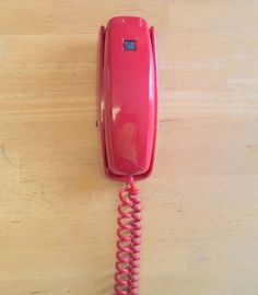 ITT Cortelco 2354-47-FBA Red Push Button Wall Telephone ~ No Ring ~ circa 1983