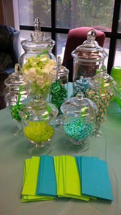 Turquoise and lime green candy buffet. This is really close to my wedding colors! I love these together