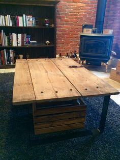 DIY table with old barn door and metal legs black powder cote!!!