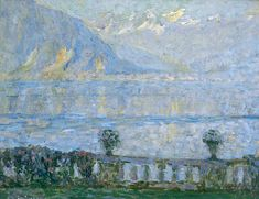 An Italian Lake by Henri Le Sidaner, Oil on board, Collection: Kirklees Museums and Galleries Klimt, Icelandic Artists, Italian Lakes, Lake Art, Landscape Paintings, Modern Paintings, Impressionist Paintings, Landscapes, Art Uk