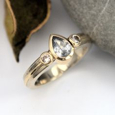 Grey And White sapphire white and yellow gold ring