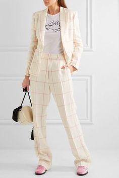 Hillier Bartley - Checked Linen Wide-leg Pants - Cream - UK10