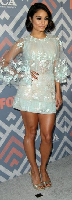 Who made Vanessa Hudgens' jewelry, sandals, and floral dress?