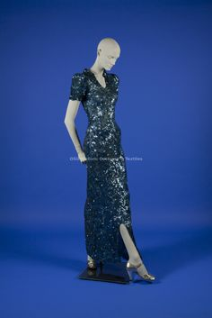 Chanel, Coco 1930's blue long sequin dress