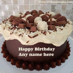 Create Happy Birthday cake online by entering name Write Name On Cake, Birthday Cake Write Name, Heart Birthday Cake, Birthday Cake With Photo, Cake Name, Happy Birthday Cake Writing, Happy Birthday Cake Pictures, Beautiful Birthday Cakes, Happy Birthday Cakes