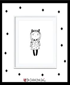 Emmy little girl poster with fox ears by thetickledpinkfox on Etsy Fox Ears, Girl Posters, Cute Poster, Little Girls, Snoopy, Illustrations, Handmade Gifts, Etsy, Fictional Characters