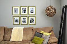 green frames in a grid pattern behind a sectional Small Tables, Hanging Art, Home Look, Grid, Frames, Gallery Wall, Throw Pillows, Interior Design, Create