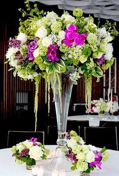 wedding bouquet flower names Beautiful Flower Arrangements, Wedding Flower Arrangements, Floral Arrangements, Beautiful Flowers, Tall Wedding Centerpieces, Floral Centerpieces, Reception Decorations, Centrepieces, Purple Wedding