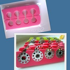 Organize sewing bobbins in foam pedicure toe separators! Sewing Hacks, Sewing Crafts, Sewing Projects, Projects To Try, Coin Couture, Couture Sewing, Sewing Room Organization, Sewing Box, Sewing Rooms