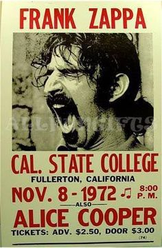 "14""x22"" Frank Zappa & Alice Cooper 1972 Concert Poster  $8"
