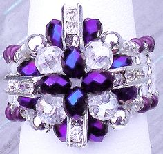 $$$... Cross Your Finger Pattern... 'Lite-up' any room and your finger with pure elegance in Purple & Clear Crystal Rondelles with Squaredelles set an an angle for even more sparkle.