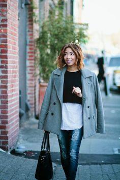 Oversized Grey Trench + Distressed Denim | Seattle Fashion Blogger