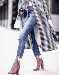 Frayed hem jeans and gingham trench