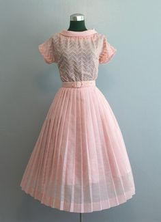 1950's - 60's embroidered dress