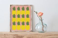 Pineapple Tropical Beach Life Art Print (5AOWDe65) 11x14 Art Print Choose your Color Background Tropical Art Print by OrangeWillowDesigns on Etsy