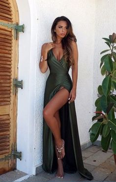 Sexy Backless V Neck Prom Dress,Split Prom Dresses,