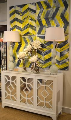"""The """"Lisa"""" console by Moore Council 210 N. Hamilton #hpmarket  Great piece with mirrored front and geometric pattern."""