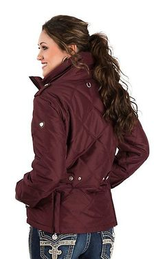 Ariat Women's Maroon Diamond Quilted Collared Jacket | Cavender's