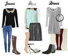 Three different types of outfits for jeans, skirts & dresses