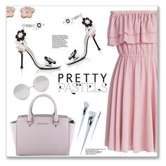 """Pretty Pastels"" by christinacastro830 ❤ liked on Polyvore featuring MICHAEL Michael Kors, Chicwish, Prada, Linda Farrow and Unicorn Lashes"