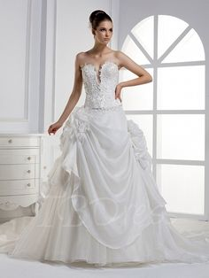 Tbdress.com offers high quality  A-line Sweetheart Sashes Layered Floor-length Cathedral Wedding Dress Strapless Wedding Dresses unit price of $ 180.49.