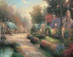 Thomas Kinkade Cobblestone Lane I painting sale sites, painting Authorized official website