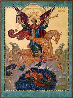 Michael the Archangel Russian Orthodox Icon. Michael Angel, St Michael, Byzantine Art, Byzantine Icons, Religious Icons, Religious Art, Religion, Kunst Online, Angel Warrior