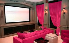 Movie room, hot pink drapes!!