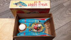 %% SPACE SCOUT S17 MADE BY YONEMAN JAPAN 1960s ORIGINAL BOX %%   eBay Tin Toys, 1960s, Decorative Boxes, Japan, Space, The Originals, Ebay, Home Decor, Display