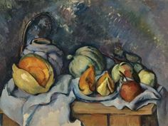 Still Life with Fruit and a Pot of Ginger - Paul Cezanne - www.paul - Still Life with Fruit and a Pot of Ginger - Paul Cezanne - www . Matisse Pinturas, Cezanne Still Life, Paul Cezanne Paintings, Cezanne Art, Still Life Artists, Art Gallery, Still Life Fruit, Aix En Provence, Impressionist Art