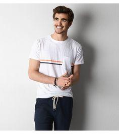 White  AEO Vintage Striped Pocket T-Shirt