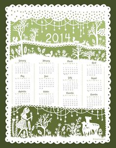 A delicate papercut design frames this pretty year-at-a-glance calendar.