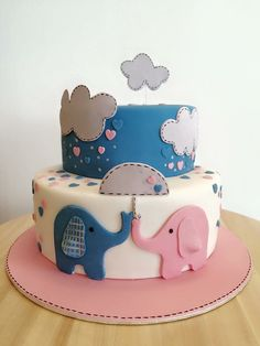 Baby shower cake. #elephants and #umbrellas