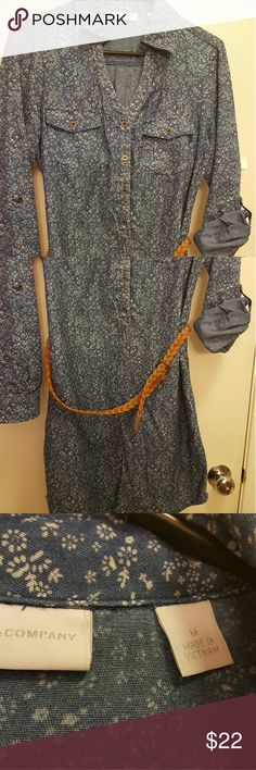 New York & Co blue demin shirt dress Demon blue with flowers and belt worn once New York & Company Dresses Midi