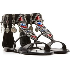 Giuseppe Zanotti Embellished Leather Gladiator Sandals (€830) ❤ liked on Polyvore featuring shoes, sandals, flats, sapatos, zapatos, black, flat shoes, black leather sandals, leather flats and black sandals
